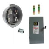 Kit Socket Base Medidor Cfe+caja Fusible Palanca 2p 60a 220v