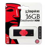 Memoria Usb 16gb Kingston Dt106 3.0 Datatraveler Nueva Negra