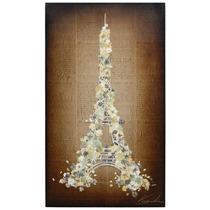 Cuadro Torre Eiffel Acrílico Sobre Hojas Antiguas De Papel