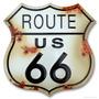 Ruta 66 Escudo Rustico Lamina Resaltado Retro Vintage Poster
