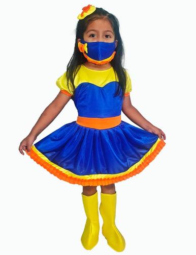 Disfraz Bely Niña Show Bely Y Beto; Moño, Botas Y Cubrebocas