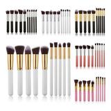 Set De 10 Brochas Kabuki Brocha Suave Maquillaje Profesional