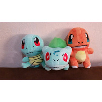 Peluche Pokemon Charmander, Squirtle Y Bulbasaur Pikachu