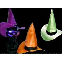 3 Sombreros Bruja Liso Con Cinta Varios Colores