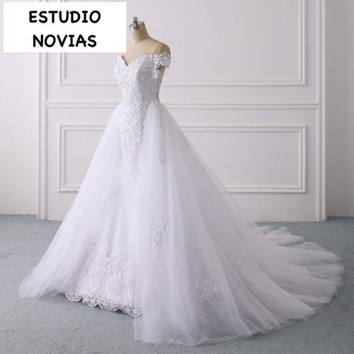 Vestidos Novia Sirena Ivory Blanco Desmontable Cola Cauda Mi