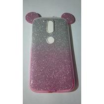 Tpu Transparente Orejas Mickey Mouse Moto G4 Color Rosa