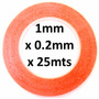 Cinta Adhesiva 1mm Doble Cara Espesor 0.2mm Transparente 25m