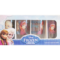 Disney Frozen Set De 4 Vasos De Cristal (nuevo Y Original)