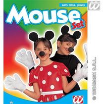 Micky Mouse Traje - Orejas Guantes Nariz Establecer Minnie F