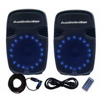 ¡combo Con Leds! Bafles Audiobahn De 15 Con Bluetooth Y Fm