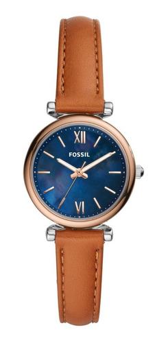 Reloj Dama Fossil Carlie Mini Es4701 Color Café De Piel
