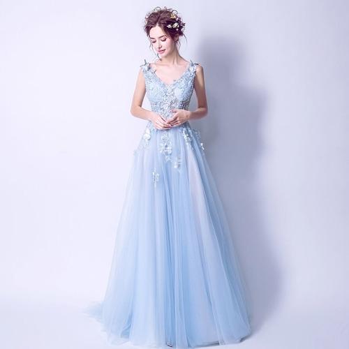 Vestido Noche Largo Z 082101 Envio Gratis Azul En Venta En