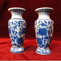 Par De Mini Floreros Orientales De Porcelana