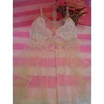 Victorias Secret Translucid Baby Doll Novya Seda Y Encaje Xs