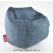 Sillón Puff Con Cama Individual 2 En 1 Tipo Mezclilla Azul