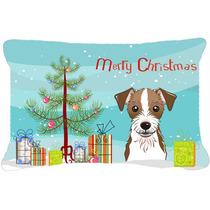 Árbol De Navidad Y Jack Russell Terrier Tela Almohada Decor