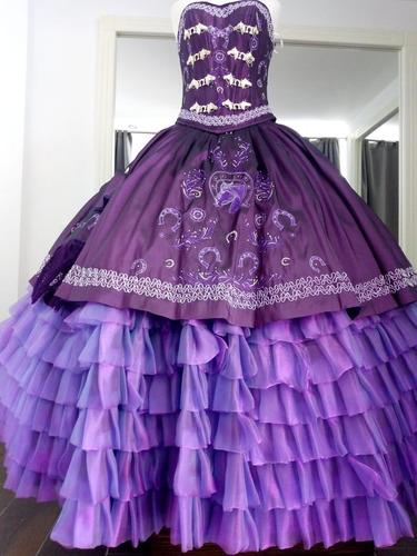 Vestido Para Fiesta Xv Años Charro Morado Violeta Oscuro En