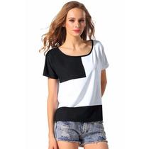 135 Blusa Casual Con Diseño Juvenil En Blanco Y Negro