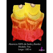Hermosos Abanicos De 1.80 100% Seda Danza Arabe Bellydance