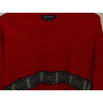 Sweater Nautica Rojo Algodón Lana Nuevo Talla L