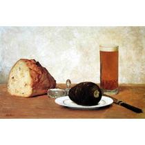 Lienzo Tela Naturaleza Muerta Cerveza Pan 1898 50 X 80 Cm