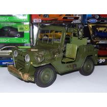 1:16 Jeep Militar Con Metralleta Vehículo De Hierro Hojalata