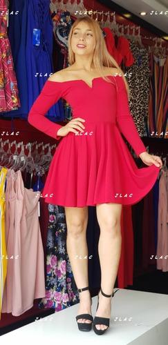 82afa32b3 Vestido Rojo Cuello V Manga Larga Andreomys Envío Gratis