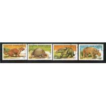 1990 Dinosaurios Cambodgia 4 Timbres Nuevos Precancelado