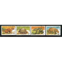 1990 Dinosaurios Cambodgia 4 Timbres Nuevos Precancelado Sp0