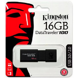 Memoria Usb 16gb Kingston Dt100 G3 3.0 Datatraveler Negra