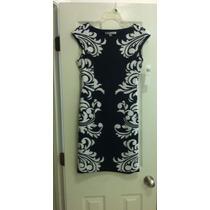 Vestido Elegante Maggy London Talla 4 Blanco & Negro Nuevo