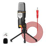 Micrófono Condensador 3.5mm Con Tripie Soporte Y Audio Cable