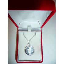 Dije Medalla San Judas Tadeo + Cadena Plata Ley .999