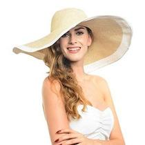 Noble Paja Ancha Sunhat Sombrero De Ala Floppy Playa Blanca
