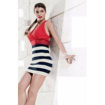 Vestido Formal Franjas Rojo Escote Holly Land 0128 Xxg
