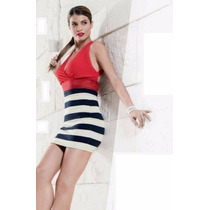Vestido Formal Franjas Rojo Marinero 0128 Xch Xxg