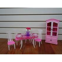 Barbie Tamaño Dollhouse Muebles- Comedor Con 4 Sillas Y Gabi
