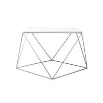 Mesa De Centro Acero Madera Blanca Mueble Diseño Moderno