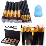 Set De 20 Brochas + 10 Kabuki + 15 Correctores Mac + Envío