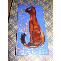 Gato, Antigua Pieza De Cobre Esmaltada Unica Mide 6x 13cm