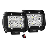 2 Faros De 6 Led Alta Intensidad 100% Metal+bases Osun® Para Jeep/motos/autos/grúas/montacargas Universales Consumo 18w