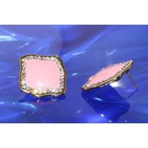 Arete Moda Dorado Cuadro Ondulado Rosa Y Cristales Ar167