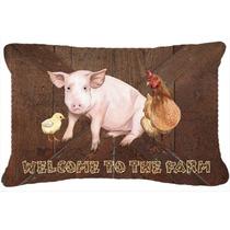 Bienvenido A La Granja Con El Cerdo Y Pollo Tela De Lona Alm