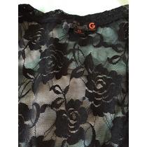 Blusa Guess Encaje Transparente Negro Rosas