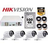 Kit Circuito Cerrado 4 Cámaras Hd Cctv Hikvision 500gb