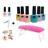 Kit Gelish 6pz + Lampara Sun Led/uv+base+top+lima+aceite