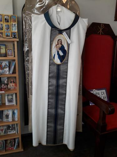055049fd628 Casulla Blanca Con Azul Marino Para Sacerdote