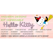 Kit Imprimible Hello Kitty Halloween Adornos Invitaciones Y+