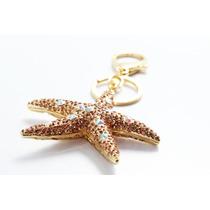 Llavero Fino Estrella De Mar Cristales Tornasol Llf18