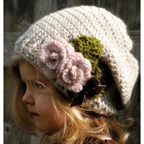 Gorro Niña Estambre, Crochet, Flores Importados Usa Colores